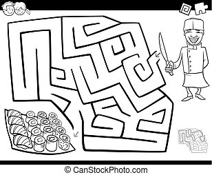 maze game coloring book with chef and sushi - Black and...