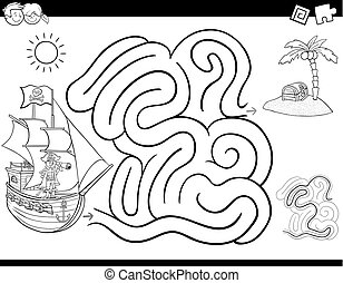 maze game coloring book with pirate - Black and White...