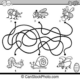 Black and White Cartoon Illustration of Educational Paths or Maze Puzzle Task for Preschool Children with Insect Characters Coloring Book