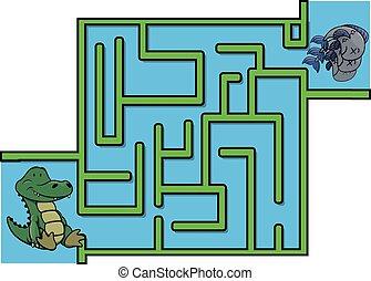 Maze game : crocodile and fish