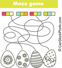 Maze game for children. Connect colors and eggs. Easter Coloring page for kids