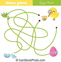 Maze game for children. Easter egg hunt activity. Help chicken find way to egg