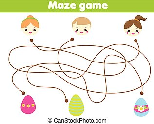 Maze game for children. Easter egg hunt activity. Help kids find way to eggs