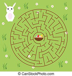 Maze game for children. fairytales theme. Help bunny find way to easter eggs