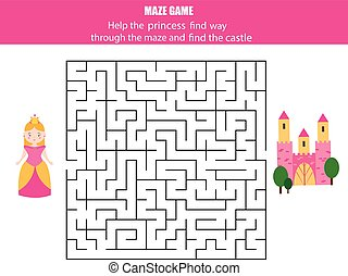 Maze game for children: fairytales theme. Help princess fint way to castle