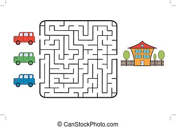 Maze game for children. Find the way for car to your home....