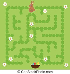 Maze game for children. Help bunny find way to Easter eggs