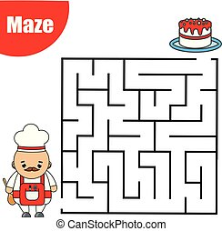 Maze game for children. Help cook go through labyrinth. Fun page for toddlers and kids