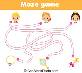 Maze game for children. Help princess find way to objects