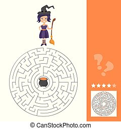 Maze game for kids with witch. Lets help this old witch to find cauldron