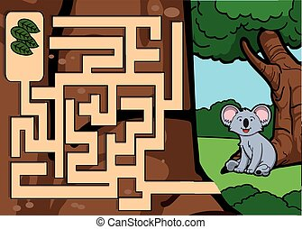 Maze game : koala and leaf