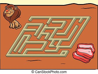 Maze game : lion and meat