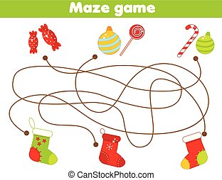 Maze game. Match gifts and socks. Christmas and New Year theme Activity for children and kids