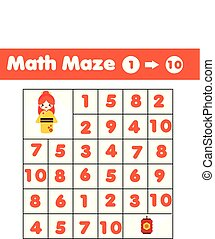 Maze game. Mathematics labyrinth with numbers. Counting from one to ten. Activity for toddlers and kids