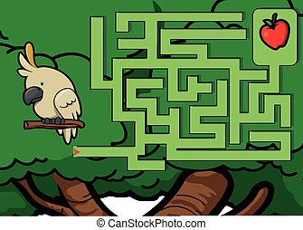 Maze game : parrot and apple