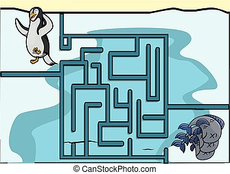 Maze game : penguin and fish