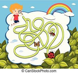 Maze game template with boy and ladybug