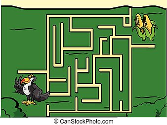 Maze game : toucan and corn