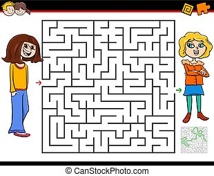 Cartoon Illustration of Education Maze or Labyrinth Activity Game for Children with Girl and Her Best Friend
