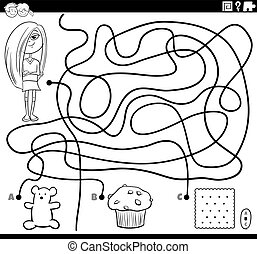 Black and White Cartoon Illustration of Lines Maze Puzzle Activity Game with Girl Character and Sweet Food Objects Coloring Book Page
