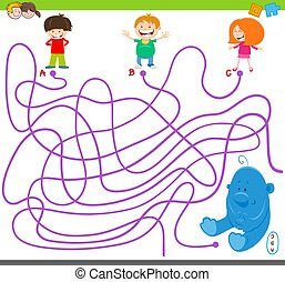 maze game with kids and plush toy - Cartoon Illustration of...