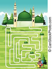 Maze game with people and mosque