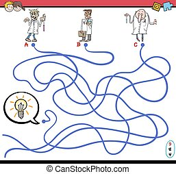 maze game with scientist characters