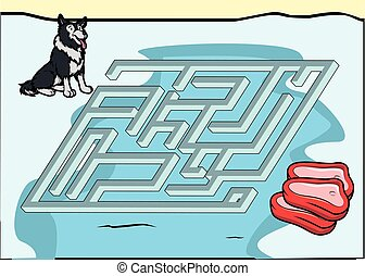 Maze game : wolf and meat