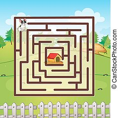 Maze - Illustration of a maze with a dog and a field