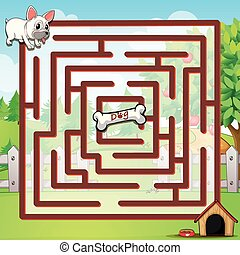 Maze - Illustration of a maze with a dog
