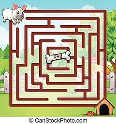 Maze - Illustration of a maze with a dog