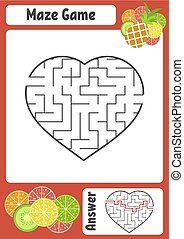 Maze in the shape of a heart. Kids worksheets. Activity page. Game puzzle for children. Appetizing tropical fruits. Labyrinth conundrum. Vector illustration. With answer.