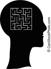 Maze in the shape of a human head concept illustration