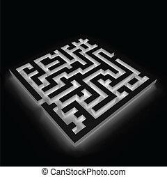 Maze (labyrinth) on black background. Vector