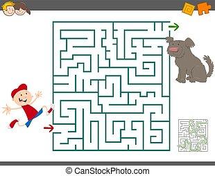 maze leisure activity - Cartoon Illustration of Education...