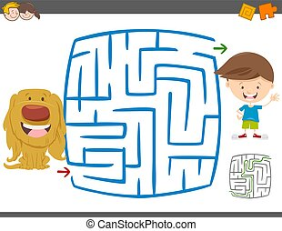 maze leisure activity game - Cartoon Illustration of...