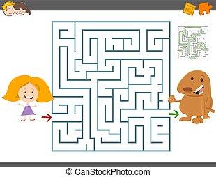 maze leisure game - Cartoon Illustration of Education Maze...