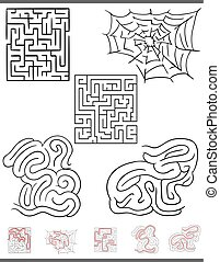 maze leisure game graphics set with solutions - Illustration...