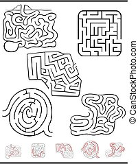 maze leisure game set with solutions - Illustration of Black...