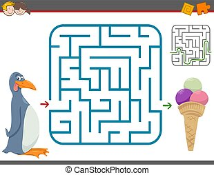 maze leisure game with penguin