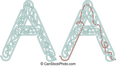 Maze letter A - Maze in the shape of capital letter A - ...