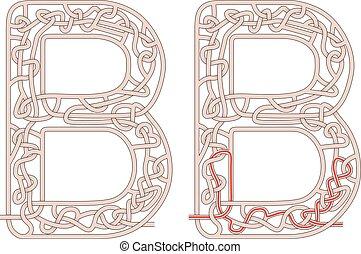 Maze letter B - Maze in the shape of capital letter B - ...