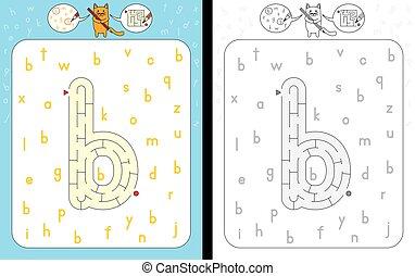 Maze letter b - Worksheet for learning alphabet -...