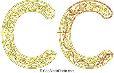Maze in the shape of capital letter C - worksheet for learning alphabet