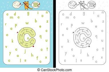 Worksheet for learning alphabet - recognizing letter c - maze in the shape of letter c