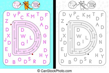 Maze letter D - Worksheet for learning alphabet -...