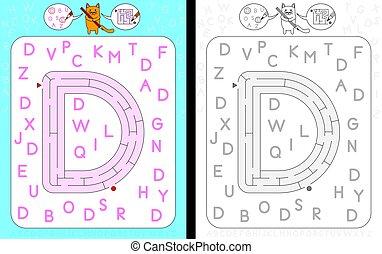 Maze letter D - Worksheet for learning alphabet -...