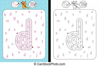 Maze letter d - Worksheet for learning alphabet - ...