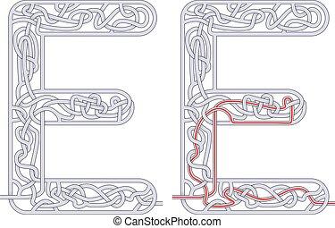 Maze letter E - Maze in the shape of capital letter E - ...