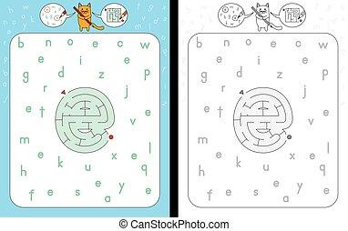 Maze letter e - Worksheet for learning alphabet - ...